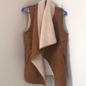 Flying Tomato faux shearling suede vest